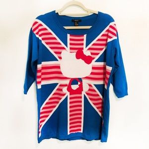 FOREVER 21 Hello Kitty Union Jack Sweater XL